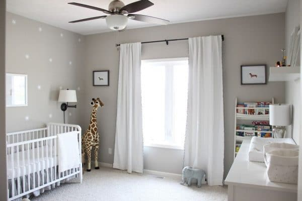 a spacious baby room