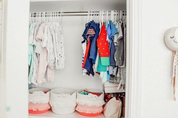 clothes organized in a closet