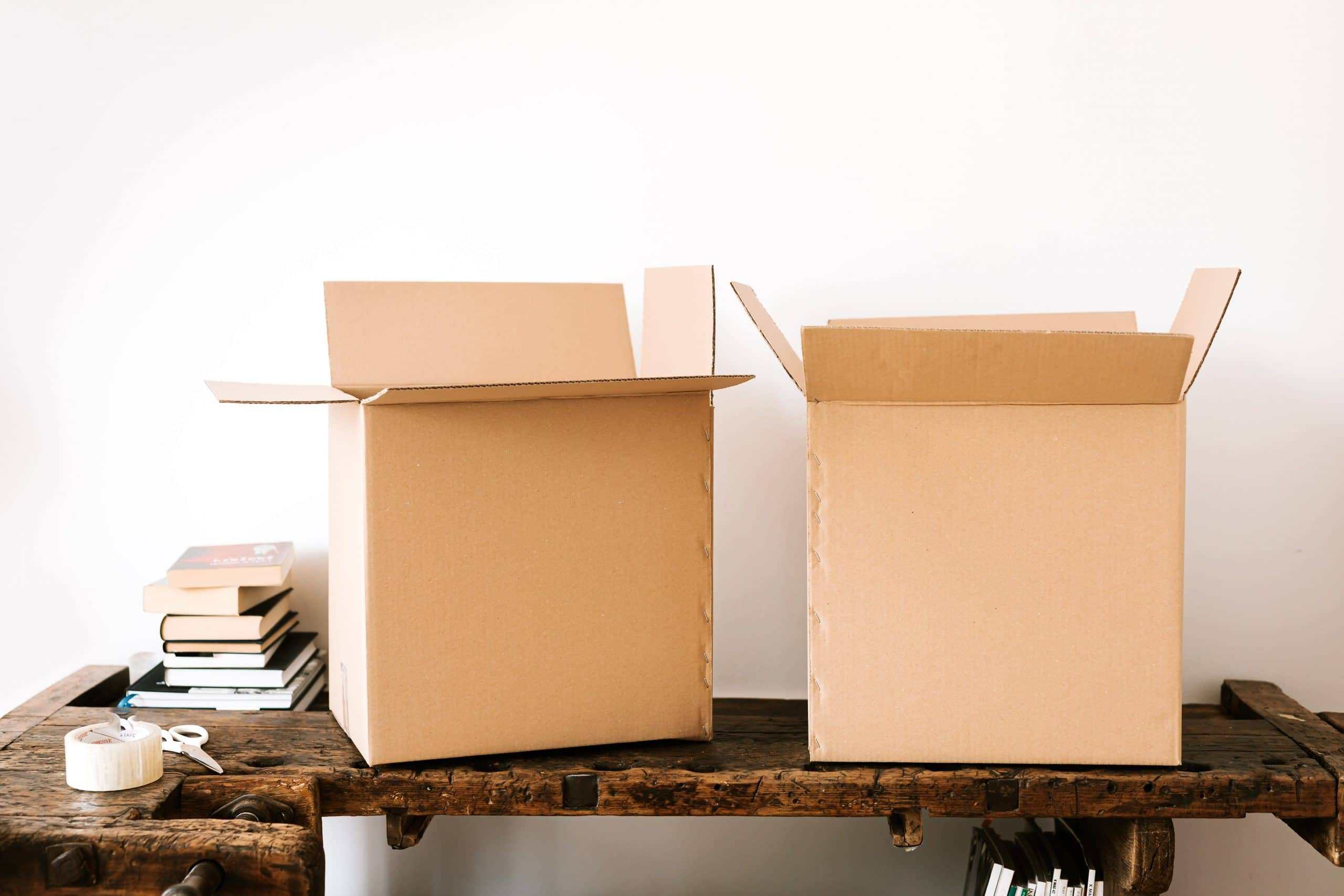 Cardboard boxes on bench